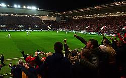 Bristol City fans celebrate their sides opening goal  - Mandatory by-line: Alex Davidson/JMP - 20/12/2017 - FOOTBALL - Ashton Gate Stadium - Bristol, England - Bristol City v Manchester United - Carabao Cup Quarter Final