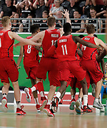 14th April 2018, Gold Coast Convention and Exhibition Centre, Gold Coast, Australia; Commonwealth Games day 10, Basketball, Mens semi final, New Zealand versus Canada; Canadian players chase Mamadou Gueye around the court after he scored the winning points on the buzzer