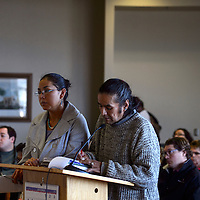 Janene Yazzie, left, and Mervin Tilden speak in support of the county maintaining a moratorium on uranium mining during the County Commission meeting in Gallup Tuesday.