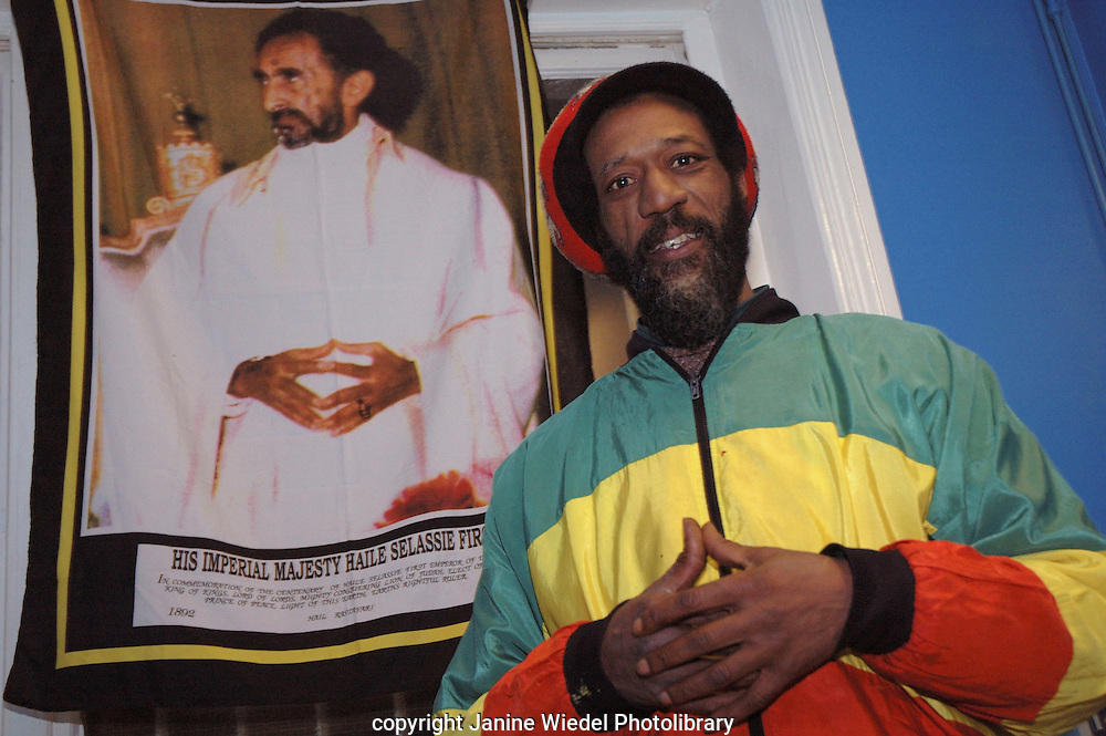 Ras Napthali with Heile Selassie at Rastafarian community centre St. Agnes Place  Kennington South London.