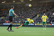 Picture by Paul Chesterton/Focus Images Ltd +44 7904 640267.03/11/2012.Alexander Tettey of Norwich has an acrobatic shot on goal during the Barclays Premier League match at Carrow Road, Norwich.