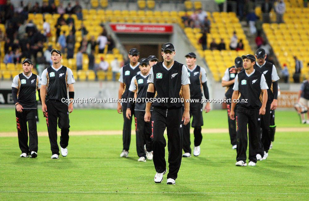 NZ captain Daniel Vettori leads his team off after the loss.<br /> 1st Twenty20 cricket match - New Zealand v Australia at Westpac Stadium, Wellington. Friday, 26 February 2010. Photo: Dave Lintott/PHOTOSPORT