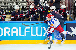 Yevgeni Dadonov of Russia vs Brock Nelson of USA during Ice Hockey match between USA and Russia at Semifinals of 2015 IIHF World Championship, on May 16, 2015 in O2 Arena, Prague, Czech Republic. Photo by Vid Ponikvar / Sportida