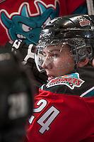 KELOWNA, CANADA - DECEMBER 6: Tyson Baillie #24 of the Kelowna Rockets sits on the bench against the Everett Silvertips on December 6, 2013 at Prospera Place in Kelowna, British Columbia, Canada.   (Photo by Marissa Baecker/Shoot the Breeze)  ***  Local Caption  ***
