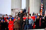 """Beyonce leads he finale at the """"We Are One""""  The Obama Inaugural Celebration at the Lincoln Memorial on January 18, 2009.  ISP pool Photo by Dennis Brack/Black Star"""