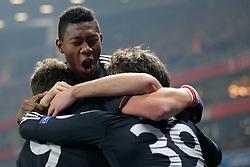 19-02-2013 VOETBAL: CHAMPIONS LEAGUE FC ARSENAL - FC BAYERN MUNCHEN: LONDEN<br /> David ALABA (FC Bayern Muenchen - 27) bejubelt das Tor zum 0-1 durch Toni KROOS (FC Bayern Muenchen - 39) <br /> ***NETHERLANDS ONLY***<br /> ©2012-FotoHoogendoorn.nl