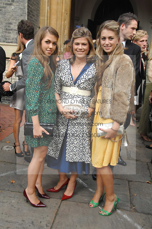 Left to right, TILLY STANDING, her mother SARAH STANDING and INDIA STANDING at the wedding of Chloe Delevingne to Louis Buckworth at St.Paul's Knightsbridge, London on 7th September 2007.<br /><br />NON EXCLUSIVE - WORLD RIGHTS