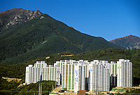 Typical apartment buildings in Unyang (near Kyongju), South Korea