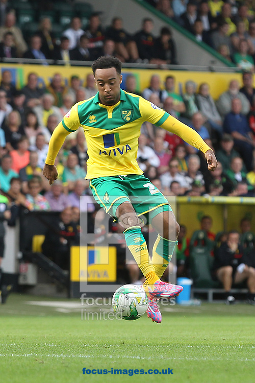 Nathan Redmond of Norwich in action during the Sky Bet Championship match at Carrow Road, Norwich<br /> Picture by Paul Chesterton/Focus Images Ltd +44 7904 640267<br /> 16/08/2014