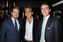 Left to right, HARRY LAWSON-JOHNSTON, WILL WELLS and VISCOUNT ERLEIGH  at the launch of Beulah's collaboration with Hennessy Gold Cup and a preview of the SS13 Collection held at The Brompton Club, 92b Old Brompton Road, London SW7 on 18th October 2012.