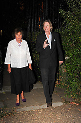LADY AMABEL LINDSAY and  leaving a summer party hosted by Lady Annabel Goldsmith at her home Ormeley Lodge, Ham Gate, Richmond on 13th July 2010.