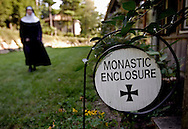 BETHLEHEM, CT- 11 OCTOBER 2005-A sign shows the area of Monastic Enclosure at the Abbey of Regina Laudis in Bethlehem. The areas marked by the enclosure signs are not to be entered by the public and indicate the private areas of the abbey community.<br /> (Photo by Robert Falcetti)