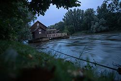 Mlin na reki Muri na Otoku ljubezni v Ižakovcih Slovenije 2019/20, on Avgust 1, 2019 in Ižakovci, Murska Sobota, Slovenia. Photo by Blaž Weindorfer / Sportida