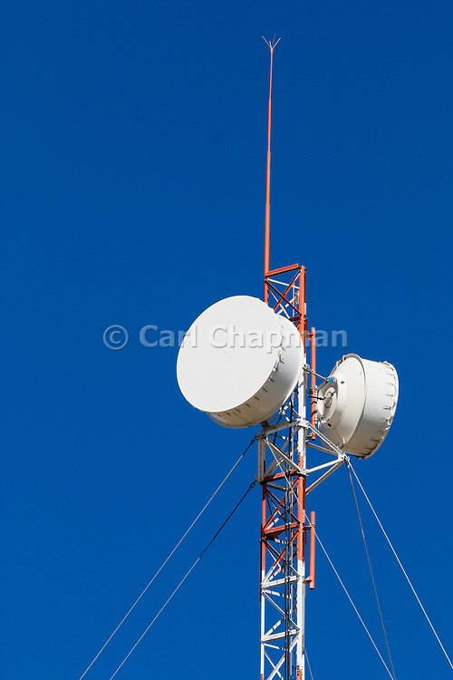 microwave parabolic dish antenna radio link on red and white lattice tower in Capella, Queensland, Australia