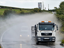 Traffic in atrocious conditions caused by spray whipped up by Storm Ali on the A73 near Cleland in North Lanarkshire on Wednesday afternoon.<br /> <br /> &copy; Dave Johnston / EEm