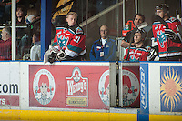 KELOWNA, CANADA - NOVEMBER 7:  Sam Bobyn #31 of the Kelowna Rockets stands on the bench opposite the Edmonton Oil Kings at the Kelowna Rockets on November 7, 2012 at Prospera Place in Kelowna, British Columbia, Canada (Photo by Marissa Baecker/Shoot the Breeze) *** Local Caption ***