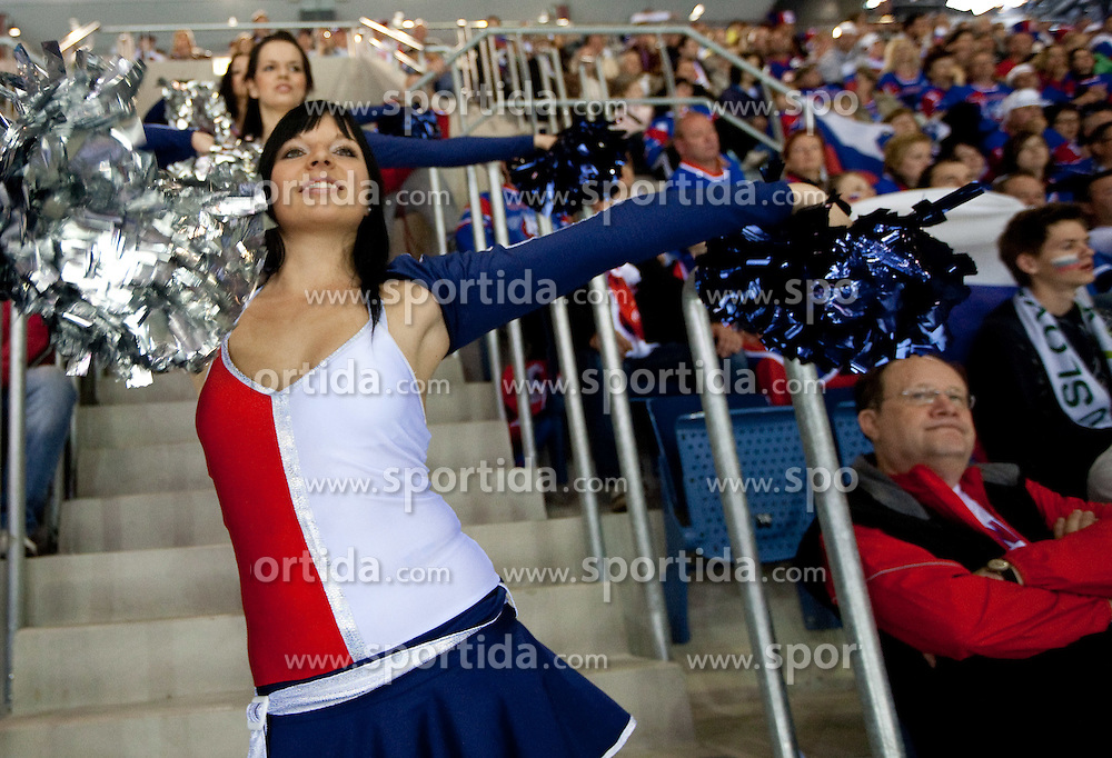 Cheerleaders during ice-hockey match between Russia and Slovenia of Group A of IIHF 2011 World Championship Slovakia, on May 1, 2011 in Orange Arena, Bratislava, Slovakia. Russia defeated Slovenia 6-4. (Photo By Vid Ponikvar / Sportida.com)