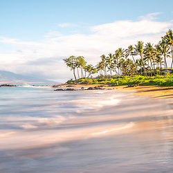 Mōkapu Beach panorama photo in Wailea Makena Maui Hawaii with Maalaea Bay in the Pacific Ocean. Panoramic photo ratio is 1:3. Copyright ⓒ 2019 Paul Velgos with All Rights Reserved.