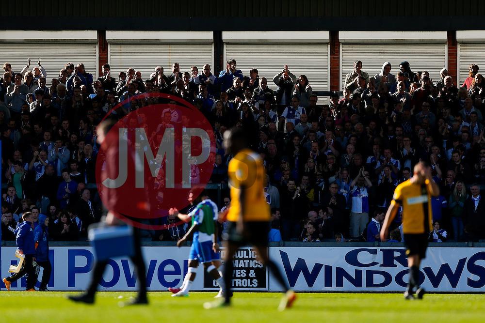 Bristol Rovers supporters celebrate a 2-0 win - Photo mandatory by-line: Rogan Thomson/JMP - 07966 386802 - 11/04/2015 - SPORT - FOOTBALL - Bristol, England - Memorial Stadium - Bristol Rovers v Southport - Vanarama Conference Premier.