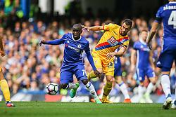Ngolo Kante of Chelsea under pressure form Luka Milivojevic of Crystal Palace - Mandatory by-line: Jason Brown/JMP - 01/04/2017 - FOOTBALL - Stamford Bridge - London, England - Chelsea v Crystal Palace - Premier League