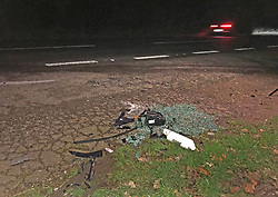 The scene near to the Sandringham Estate where the Duke of Edinburgh was involved in a road accident while driving.
