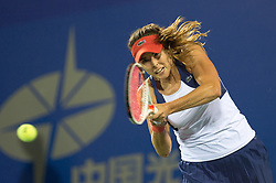 WUHAN, Sept. 27, 2017 Alize Cornet of France returns the ball during the singles third round match against Varvara Lepchenko of the United States at 2017 WTA Wuhan Open in Wuhan, capital of central China's Hubei Province, on Sept. 27, 2017. Alize Cornet won 2-1.  wll) (Credit Image: © Zhang Duan/Xinhua via ZUMA Wire)