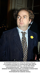 ALEXANDER WAUGH son of the late Auberon Waugh, at a reception in London on 3rd December 2003.PPG 20