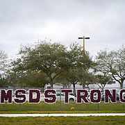 PARKLAND, FLORIDA -- JANUARY  28, 2019: Marjorie Stoneman Douglas High School in Parkland, Florida scene of a school massacre in February of 2018, which claimed the lives of 17 students and faculty members.<br /> (Angel Valentin / For The Times)