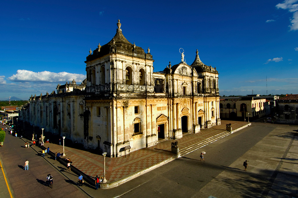 The Cathedral of Leon, formally known as the Basilica de la Asuncion in Leon, Nicaragua, is the largest cathedral in all of Central America.