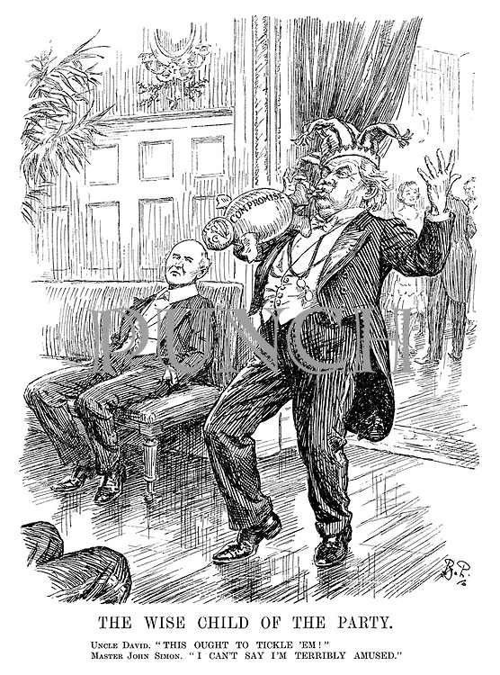 "The Wise Child of the Party. Uncle David. ""This ought to tickle 'em!"" Master John Simon. ""I can't say I'm terribly amused."" (Lloyd George inflates a Compromise balloon)"