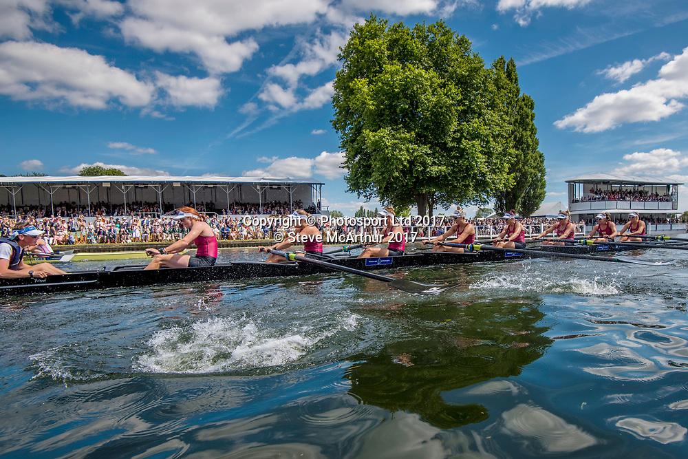 Remenham Challenge Cup winners at the 2017 HRR 2017 Emma Dyke (Timaru RC), Lucy Spoors (Canterbury RC), Rebecca Scown (Union Wanganui), Kelsi Walters (Auckland Grammar RC), Kelsey Bevan (Counties Manukau RC), Georgia Perry (Cambridge RC), Ashlee Rowe (North Shore RC), Ruby Tew (Star BC) and coxswain Sam Bosworth (Avon RC) NZ Womens Eight at Henley on Thames, United Kingdom. Sunday 2nd July 2017. © Copyright Steve McArthur / www.photosport.nz