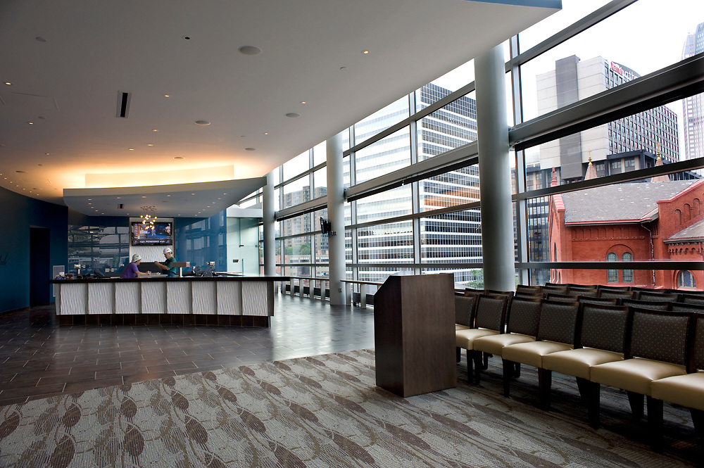 The Lexus Club inside the new Consol Energy Center overlooks downtown Pittsburgh.