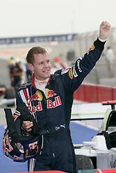 SAKHIR, BAHRAIN - Sunday, April 26, 2009: Sebastian Vettel (GER, Red Bull Racing) celebrates after the Bahrain Grand Prix at the Bahrain International Circuit. (Pic by Michael Kunkel/Hoch Zwei/Propaganda)