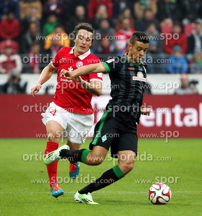 01.11.2014, Coface Arena, Mainz, GER, 1. FBL, 1. FSV Mainz 05 vs SV Werder Bremen, 10. Runde, im Bild v.l.: Julian Baumgartlinger (Mainz) gegen Franco Di Santo (Bremen) // during the German Bundesliga 10th round match between 1. FSV Mainz 05 and SV Werder Bremen at the Coface Arena in Mainz, Germany on 2014/11/01. EXPA Pictures &copy; 2014, PhotoCredit: EXPA/ Eibner-Pressefoto/ Neurohr<br /> <br /> *****ATTENTION - OUT of GER*****