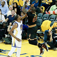 12 June 2017: Cleveland Cavaliers forward LeBron James (23) dunks the ball on Golden State Warriors forward Kevin Durant (35) during the Golden State Warriors 129-120 victory over the Cleveland Cavaliers, in game 5 of the 2017 NBA Finals, at the Oracle Arena, Oakland, California, USA.