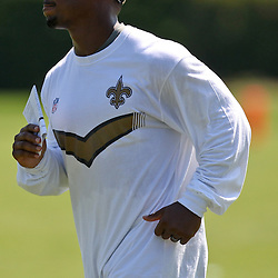 July 31, 2011; Metairie, LA, USA; New Orleans Saints running back Darren Sproles during training camp practice at the New Orleans Saints practice facility. Mandatory Credit: Derick E. Hingle