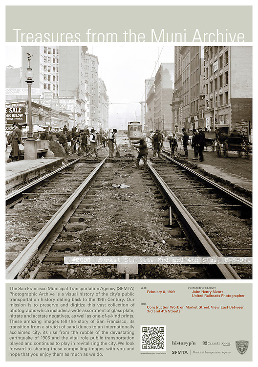 Market St, between 3rd and 4th Sts, looking East | February 8, 1909 | Treasures from the Muni Archive