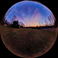 Autumn Dawn Clouds. Mirror Ball View. Composite of 41 mage taken with a Nikon D850 camera and 8-15 mm fisheye lens (ISO 100, 15 mm, f/5, 1/30 sec). Raw images processed with Caputure One Pro and Autopano Giga Pro.