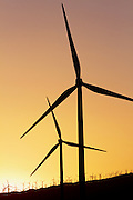 Wind Turbines at Sunset in Palm Springs, CA