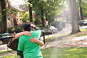 First Lady Deborah McDavis comforts a parent dropping off her son for his freshman year. Photo by Ben Siegel