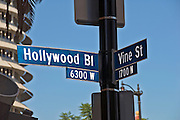 Hollywood and Vine, CA, Intersection, Street Sign, Los Angeles, CA