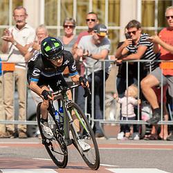 31-08-2018: Wielrennen: Ladies Tour: Weert<br /> Omar Shapira heeft haar voorsprong bij de eerste finishpassage zijn oplopen tot boven de 4 minuten