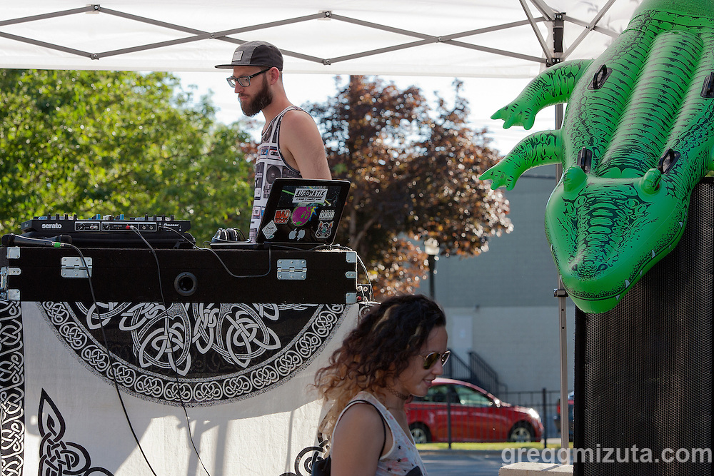 Professional DJ Auzomatik (Austin Gravely) during the Mics and Mini Ramps, a hip hop show and mini ramp contest on June 25, 2016 at The Shredder in Boise, Idaho. (Gregg Mizuta/greggmizuta.com)<br /> <br /> Performances by Edable &amp; Elms One, Axiom Tha Wyze &amp; Andy O, Tony G, and Auzomatik. Food by Wetos Locos, and live painting by Elms One.