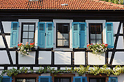 Fachwerk, Fenster, Altstadt, Groß-Umstadt, Odenwald, Naturpark Bergstraße-Odenwald, Hessen, Deutschland | old town, Gross-Umstadt, Odenwald, Hesse, Germany