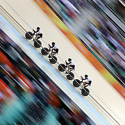 Track Cycling - Olympics: Day 6  The Switzerland team of Olivier Beer, Silvan Dillier, Thery Schir and Cyrille Thiery <br /> in action during the Men's Team Pursuit race during the track cycling competition at the Rio Olympic Velodrome August 12, 2016 in Rio de Janeiro, Brazil. (Photo by Tim Clayton/Corbis via Getty Images)