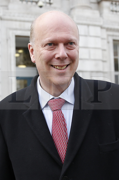 © Licensed to London News Pictures. 18/01/2019. London, UK. Transport Secretary Chris Grayling is seen in Whitehall after meeting with Prime Minister Theresa May. The Prime Minister is spending the day meeting senior politicians ahead of Monday's plan B announcement on the EU Withdrawal agreement in Parliament. Photo credit: Peter Macdiarmid/LNP