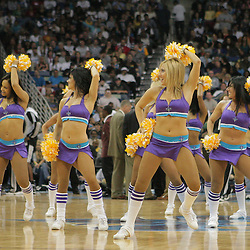 29 March 2009: New Orleans Hornets Honeybees dance team performs during a NBA game between Southwestern Conference rivals the New Orleans Hornets and the San Antonio Spurs at the New Orleans Arena in New Orleans, Louisiana.