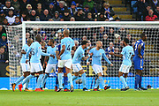 Manchester City players celebrate Manchester City's striker Gabriel Jesus (33) goal during the Premier League match between Leicester City and Manchester City at the King Power Stadium, Leicester, England on 18 November 2017. Photo by John Potts.