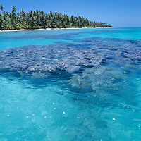 French Polynesia Rangiroa Atoll Tuamotu Archipelago, view of remote island, clear water and ocean