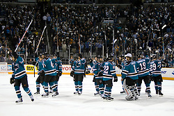 April 29, 2010; San Jose, CA, USA; San Jose Sharks celebrate after game one of the western conference semifinals of the 2010 Stanley Cup Playoffs against the Detroit Red Wings at HP Pavilion. The Sharks defeated the Red Wings 4-3. Mandatory Credit: Jason O. Watson / US PRESSWIRE